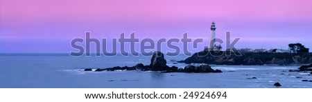Dawn Begins Over The Pigeon Point Lighthouse, Central Coast, California - stock photo