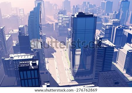 Dawn in a modern city. - stock photo