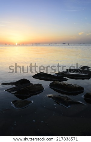 Dawn in Los Alcazares, Spain - stock photo