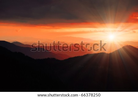 Dawn in mountains Carpathians, Ukraine. Autumn morning