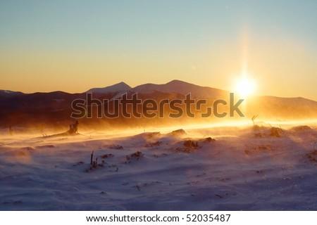 Dawn in the Carpathian Mountains - stock photo