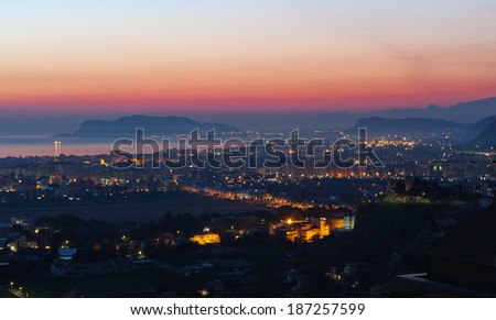 Dawn in the city of Palermo, Sicily in Italy. - stock photo