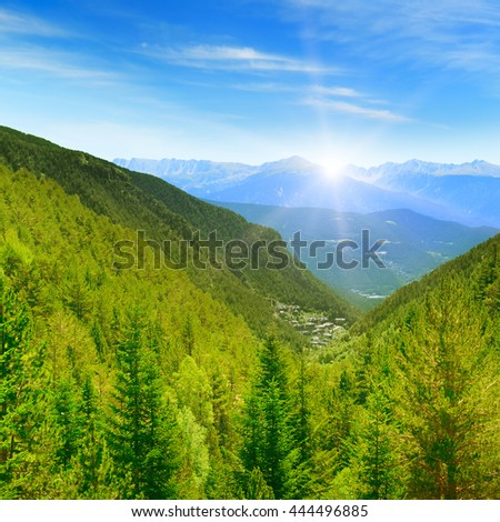 Dawn in the picturesque mountains covered with forests - stock photo