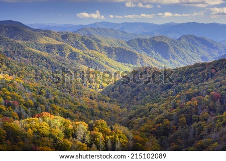 Dawn in the Smoky Mountains National Park, Tennessee, USA. - stock photo