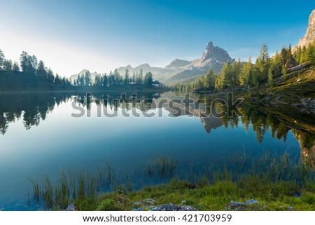 Dawn landscape of the Italian Dolomites - stock photo