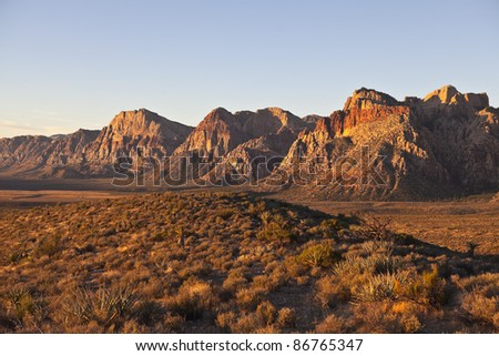Dawn light at Red Rock National Conservation Area in Southern Nevada. - stock photo