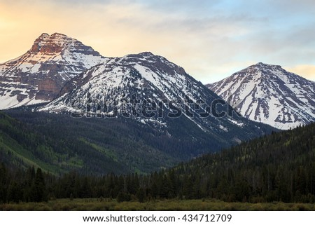 Dawn light in the Uinta Mountains, Utah, USA. - stock photo