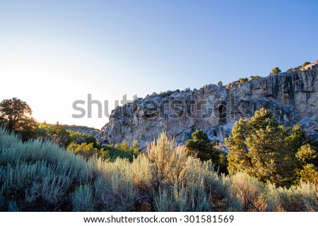 Dawn light on the Gray Cliffs in Great Basin National Park - stock photo