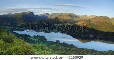 Dawn light over Ullswater and the Helvellyn range in the English Lake District. Taken from Place Fell