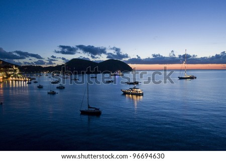 Dawn of Lipari, Messina, Sicily, Italy, Euope - stock photo