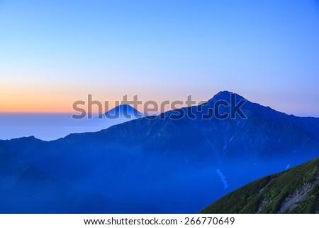 Dawn of Mt. Fuji and Mt. Kitadake, Japan - stock photo