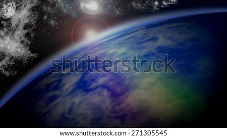 Dawn on a Planetary horizon in Deep Space - stock photo