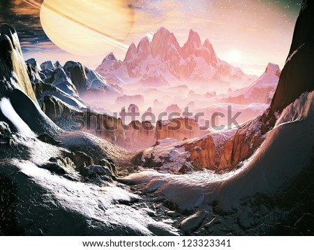 Dawn on Alien Ice World