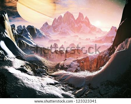 Dawn on Alien Ice World - stock photo