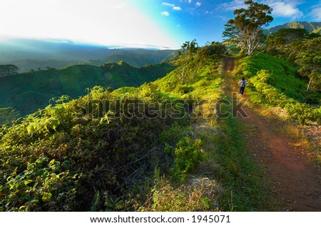 Dawn on Kuilau trail on Kauai Hawaii. More with keyword Series001