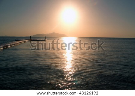 Dawn On The Red Sea In The Autumn. View To Tiran Island. - stock photo