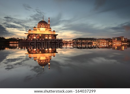 Dawn over Masjid Putra, Putrajaya - stock photo