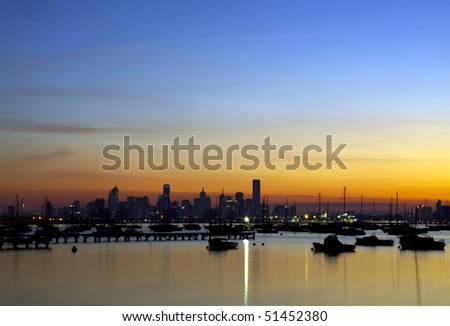 Dawn over Melbourne, Australia, viewed from Williamstown.