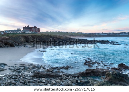 Dawn over Newquay, a seaside town in Cornwall - stock photo