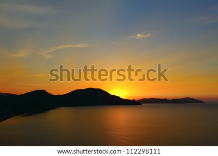 Dawn over the hills of Koktebel, Crimea - stock photo