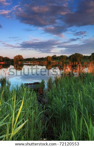 Dawn over the swamp - stock photo