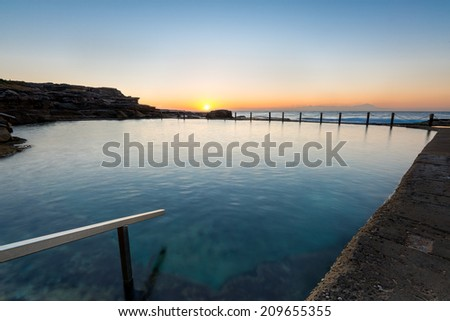 Dawn shot of the coastline of Maroubra and Mahon Pool. - stock photo