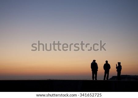 Dawn silhouette - stock photo