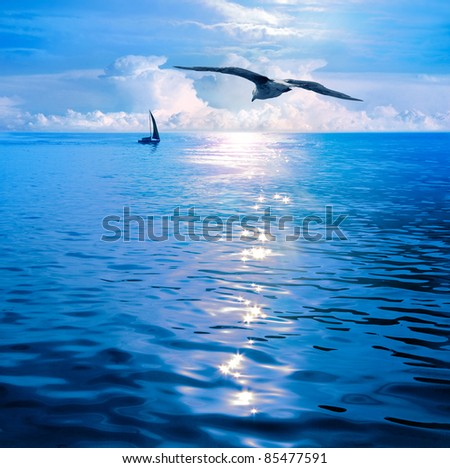 Dawn under sails. Sea View. Endless sea, infinite horizon, the only visible viewpoints on board sailing yacht. - stock photo