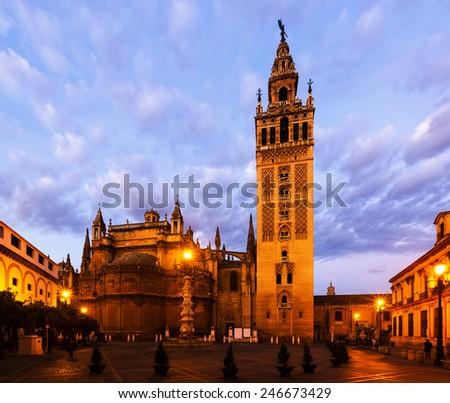 Dawn view of  Giralda tower - was originally built as a minaret during the Moorish period. Seville, Spain    - stock photo