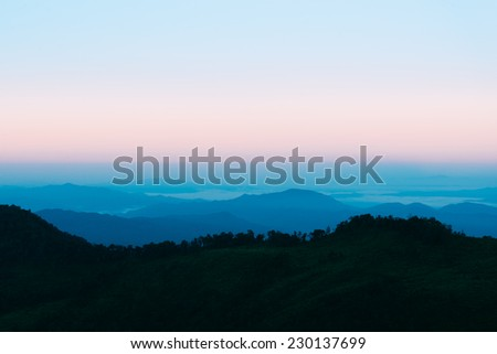 Dawn with mountain scenic