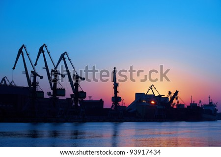 Dawning in port - stock photo