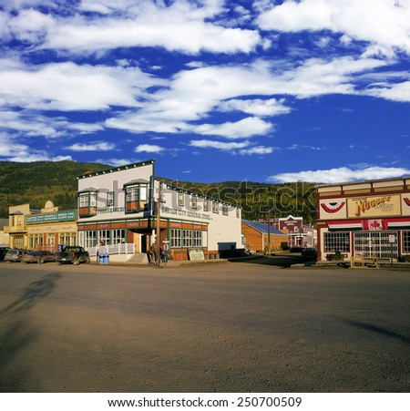 DAWSON CITY - JULY 5, 2006: Famous Klondike Gold Rush centre began as First Nations camp in 1896. Camp grew in1898 into thriving city of 40 000 gold prospectors and named Dawson City. Yukon, Canada. - stock photo