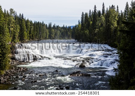 Dawson Falls is one of seven waterfalls on the Murtle River in Wells Gray Provincial Park, British Columbia, Canada. - stock photo