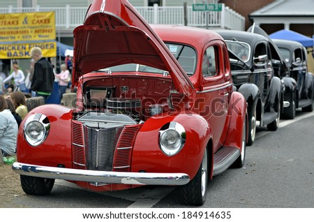 DAWSONVILLE, GEORGIA- OCTOBER 27, 2013- Classic cars that have been restored are on display at the Moonshiners Festival in Dawsonville, GA. - stock photo