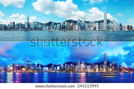 Day and Night at Hong Kong - stock photo