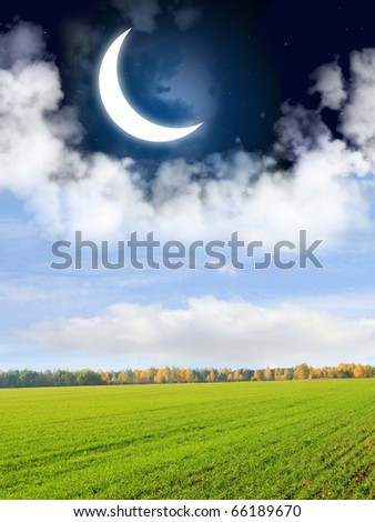 Day and night. Blue sky and crescent - stock photo