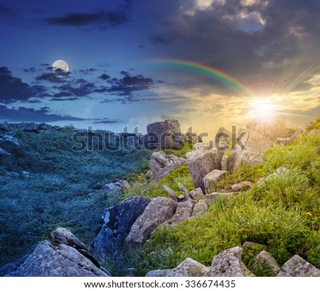 day and night collage image of white sharp boulders on the grassy meadow with some dandelions on the edge of high mountain range - stock photo