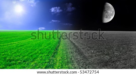 Day and night conceptual image. Green field in day and night. - stock photo