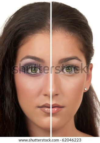 Day and Night make up ( one side day make up, the other side night make up ) - stock photo