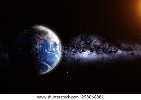 Day and night on planet Earth elements of this image furnished by NASA - stock photo