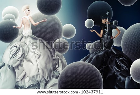 day and night women - stock photo