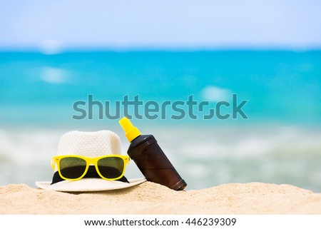 Day at the beach. Summer time holiday beach concept.  - stock photo