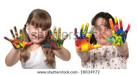 Day Care Preschool Children Painting With Their Hands. Only Hands Are in Focus. - stock photo
