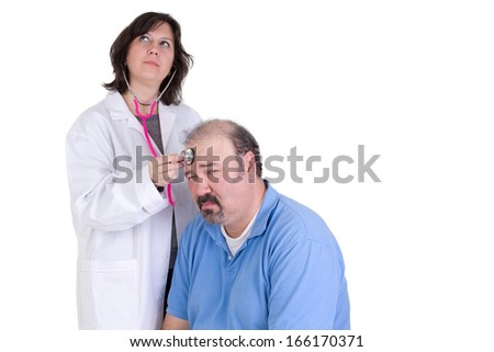 Day dreaming intern and her able to remain calm and not become annoyed patient, perhaps she is not sure what to do or bored with her job - stock photo