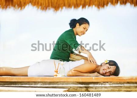 day in beach spa, bali - stock photo
