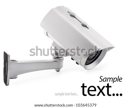 Day & Night Color wireless surveillance camera isolated on white background, with clipping paths (with sample text) - stock photo