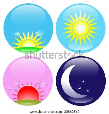 Day Night Sunrise Sunset Icon Set Stock Illustration ...