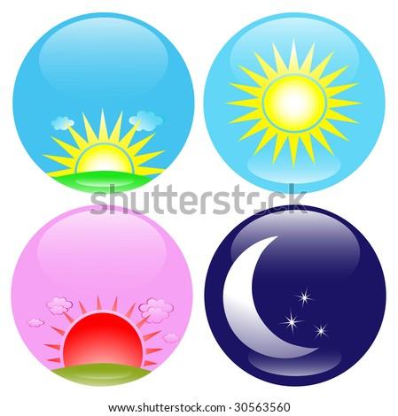 Day Night Sunrise Sunset Icon Set Stock Illustration ...