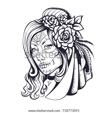 Day Of Dead Make Up Girl With Flowers In Hair Adult Coloring Pages