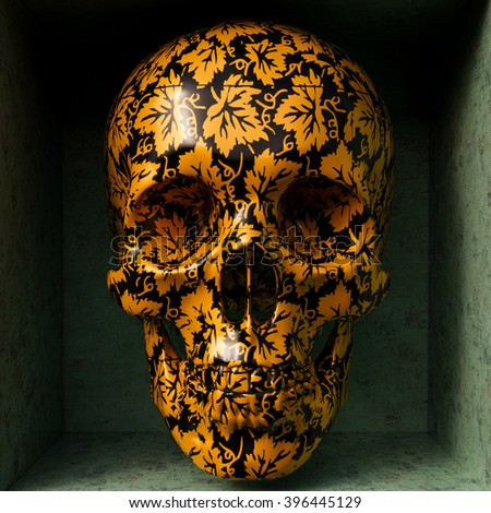 Day of The Dead colorful Skull with floral ornament - stock photo